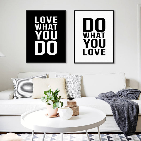 2 Panel Black White Motivational Love Quotes Poster Print Vintage Picture Canvas Painting Wall Art Home Decor Unframed