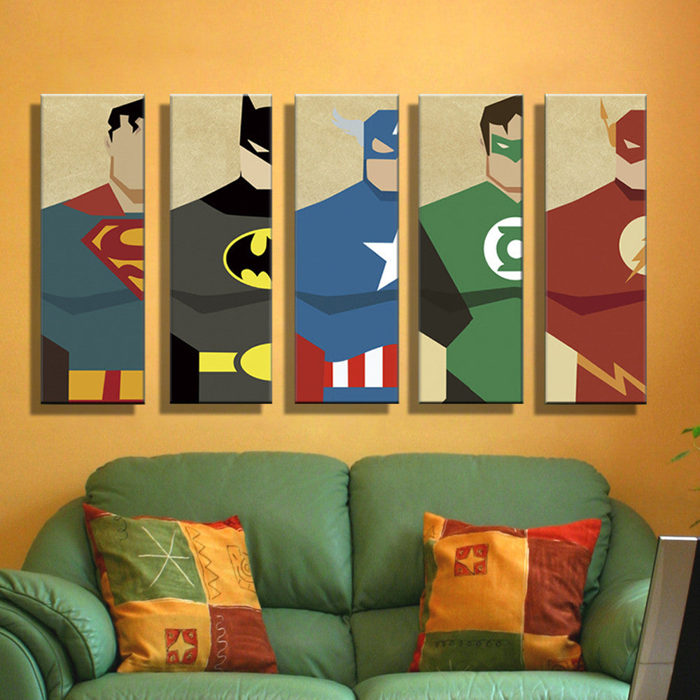 5 Panels Print Painting Canvas Super Hero Superman Batman Cartoon Home Decor Modern Wall Pictures For
