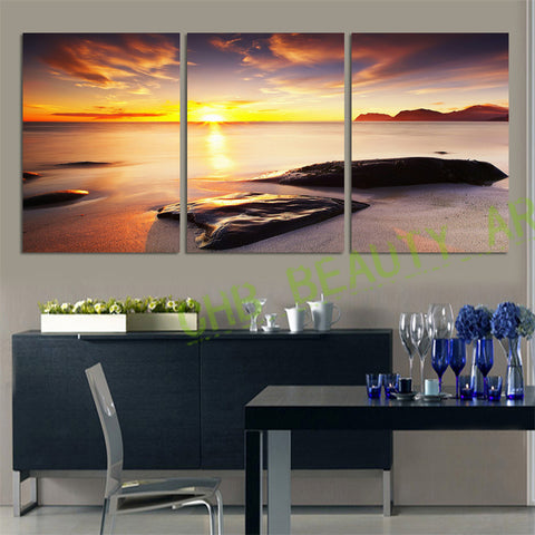 3 Piece Wall Art  Sunset Sea Canvas Painting  Wall Pictures For Living Room HD Seascape Stone Decoration Pictures Unframed