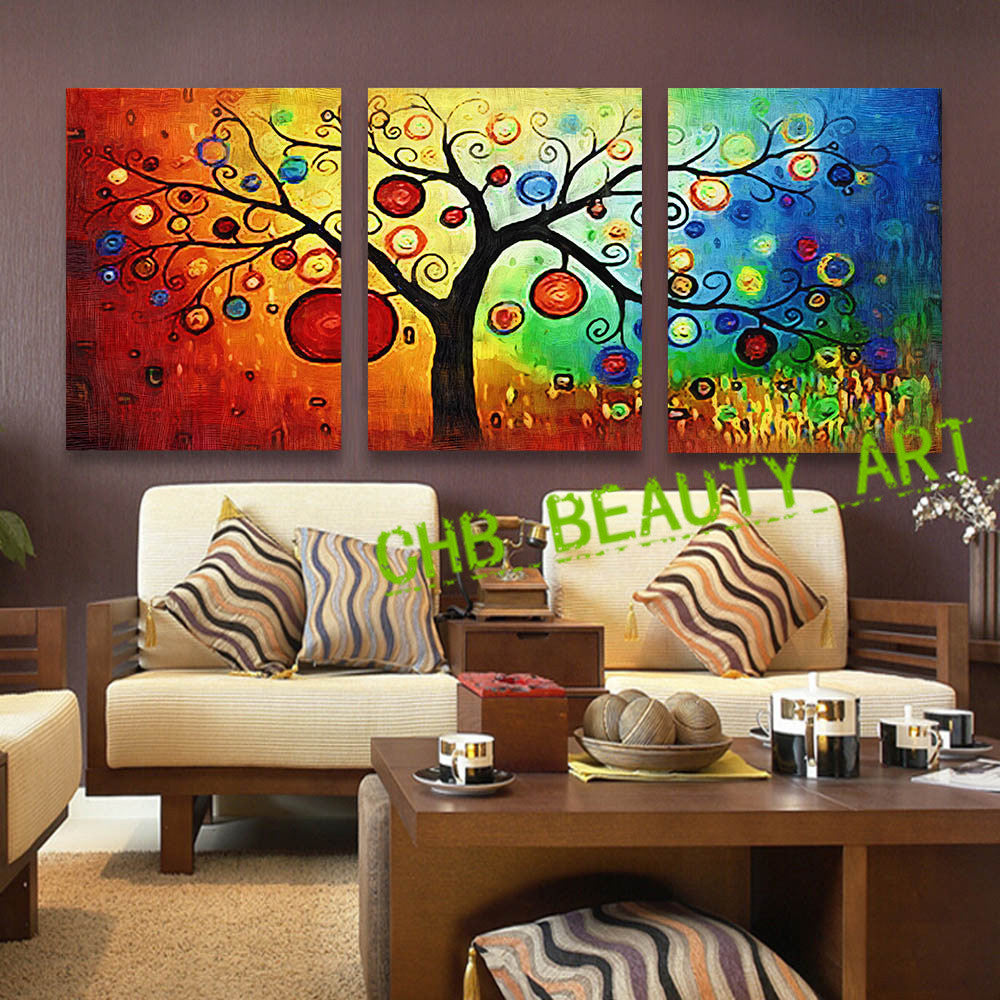 3 panel Lucky Tree modern abstract print painting unframed wall pictures for living room canvas art home decoration Unframed