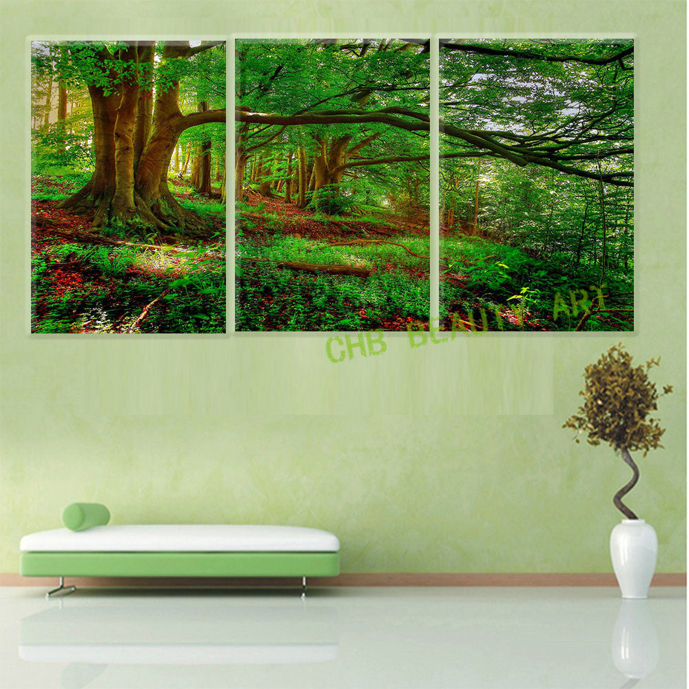 3 Piece Morden Abstract Canvas Painting Evergreen Tree Wall Picture Decoration Home Modern Artwork Prints