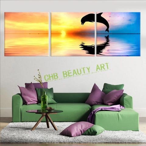 3 Panels Dolphins and sea Canvas Painting Modern Wall Picture For Living Room Decorative Picture Art Print On Canvas Unframed