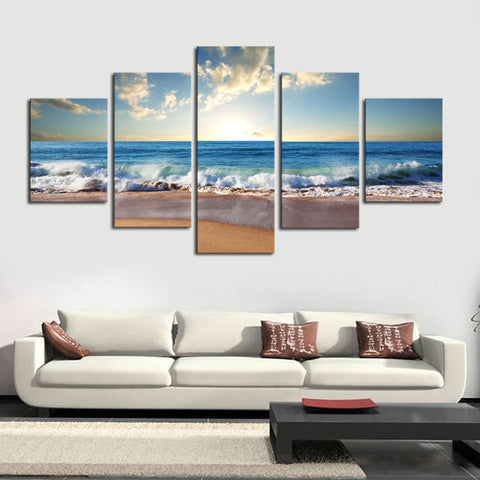 (No Frame) 5 Piece The Sea Beach Modern Wall Decor Canvas Art Print Painting On Canvas Artworks Wall Pictures For Living Room