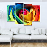 4 piece modern abstract canvas painting wall art colorful rose flower picture HD printed on canvas decroative pictures