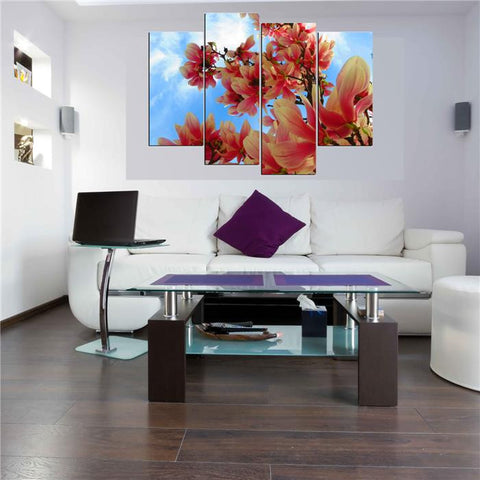 4 Panels Beautiful Flowers  Large HD Picture Canvas Oil Painting Artwork Modern Decoration Wall Pictures For Living room