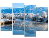 2016 Hot Sell 4 panel Ice Mountain Lake Bridge Large HD Picture Modern Painting Home Decor Canvas Print on canvas