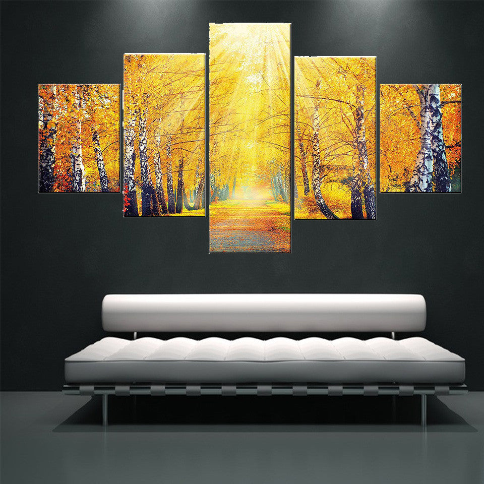 5 Piece Modern Abstract Wall Art Sunshine Autumn Maple Tree HD ...