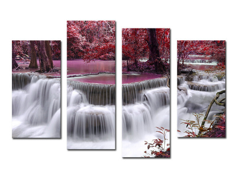 4 Piece Mangrove With Waterfall Modern Home Wall Decor Canvas Picture Art HD Print Painting Canvas Arts