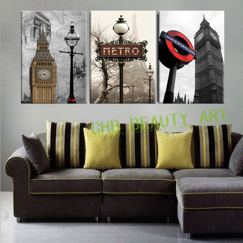 3 Panel Wall Art Paintings Famous European Building  Landscape Wall Pictures For Living Room Modern Home Decor Unframed