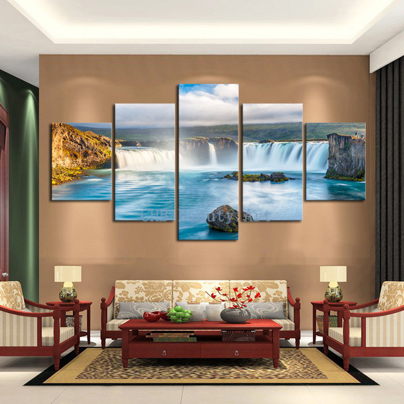 5 PCS Amazing Waterfall Painting On Canvas Home Decor Art Picture Wall Pictures For Living Room Canvas Prints