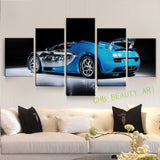 5 Panel Blue Sport Car Wall Art Picture Home Decoration Living Room Canvas Painting Wall Picture Print On Canvas Unframed