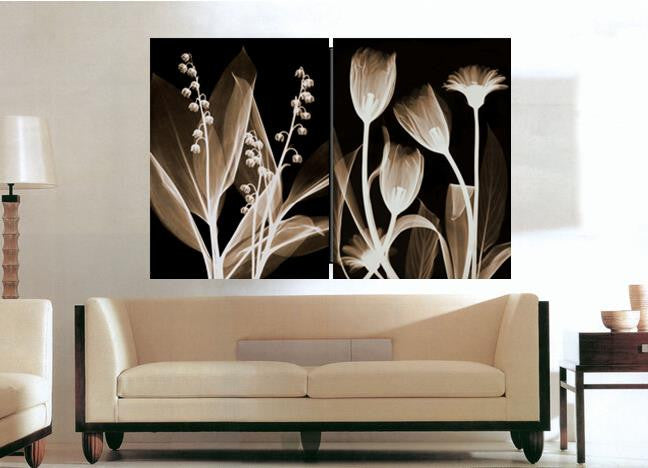 2 piece Transparent flowers Wall Painting quadros canvas painting Prints wall art wall pictures for living room qt Unframed