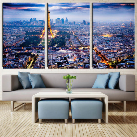 3 Piece Canvas Wall Art Printed Oil Painting On Canvas Eiffel Tower in Paris wall Pictures for living Room Unframed