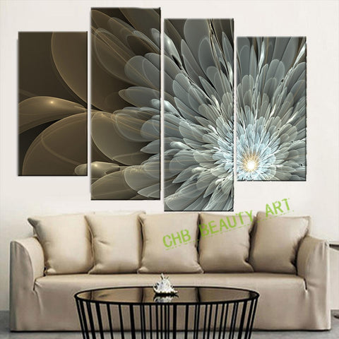 4 Panel Canvas Painting Wealth And Luxury Golden Flowers Art Picture Home Decor On Canvas Modern Wall Painting Unframed