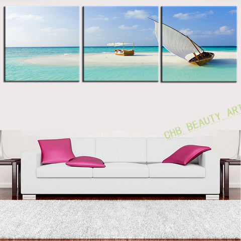 3 Panel Modern Art Canvas Paintings Sea Scenery Beach Sailing Decorative Picture Artwork Home Decor HD Print Unframed