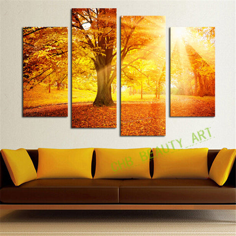 4 Panel Modern Abstract Sunshine Golden Forest Wall Art Picrue Print Painting Home Decor For Bedroom&Living Room Unframed