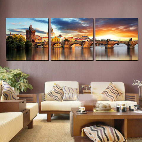 3 Panels HD Modern Paintings The River Vltava Landscape Canvas Painting European Building Art Wall Pictures For Rooms