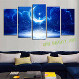 5 panel Modern Abstract Blue Moon cloud  Wall Art Picrue Print Painting Home Decor For Bedroom&Living Room