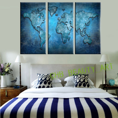 3 Panels Blue World Map Wall Art Canvas Prints Canvas Painting Decoative Picture Wall Art Wall Pictures For Living Room Unframed