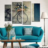 4 Panel Vintage Bicycle Printed Painting Canvas Picture Wall Pictures For Living Room Wall Art Decorative Picture UnFramed