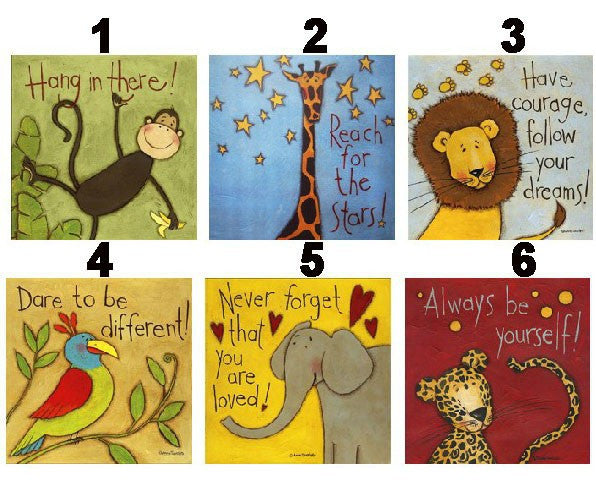 6 Piece Cartoon Animal Canvas Painting Printings Modern Wall Art Decorative Picture For Kids Room Decoration Paintings Unframed