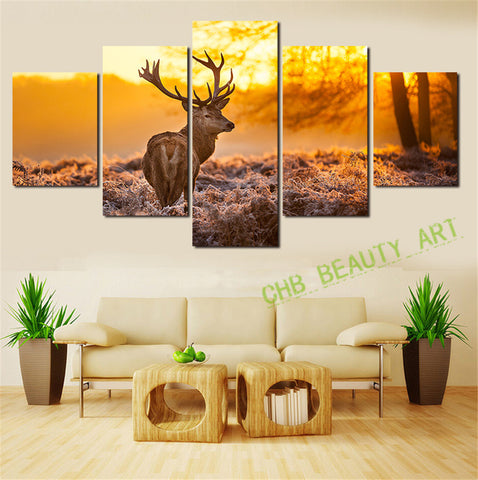 5 Panels Modern Art Canvas Painting Sunset Elk Animal Abstract Landscape Painting Prints Wall Pictures For Living Room Unframed