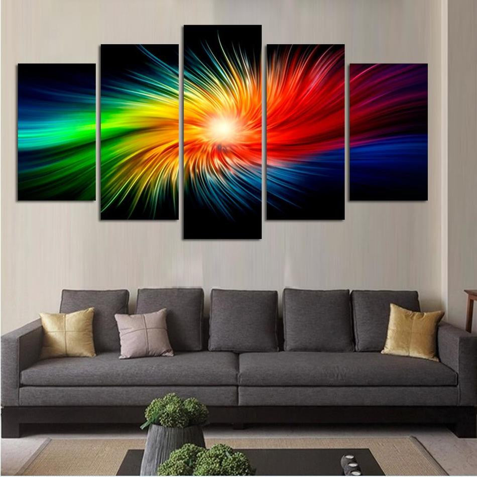 Peachy Color Painting Canvas Modern 3D 5 Piece Abstract Wall Art Oil Picture Home Decoration For Living Room Home Interior And Landscaping Staixmapetitesourisinfo