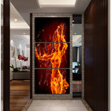 3pieces Modern hot sexy photo textured canvas arts fire nude woman abstract painting for bedroom wall decoration no frame A054