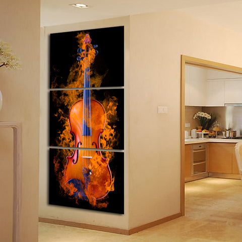 3 Piece Abstract the Flame Guitar HD Wall Picture Home Decor Art Print Painting On Canvas For Living Room no frame A056