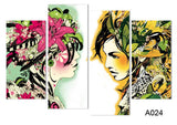 4pcs/set Canvas Modernism Abstract Girls color Art Painting for Living Room Bedroom Decor Paintings For Living Room Wall
