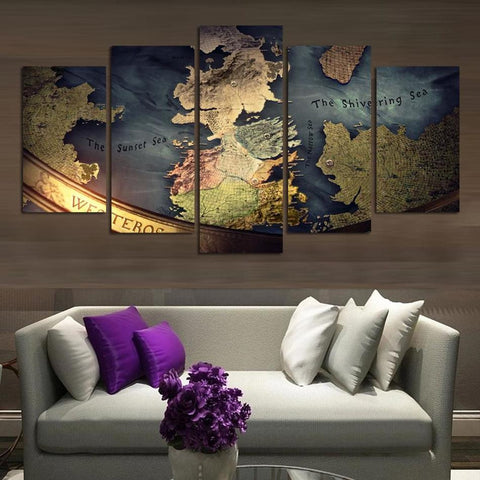 NO FRAME CANVAS ONLY 5 pieces WORLD MAP TRADITONAL modern wall painting home decor wallpaper on canvas prints