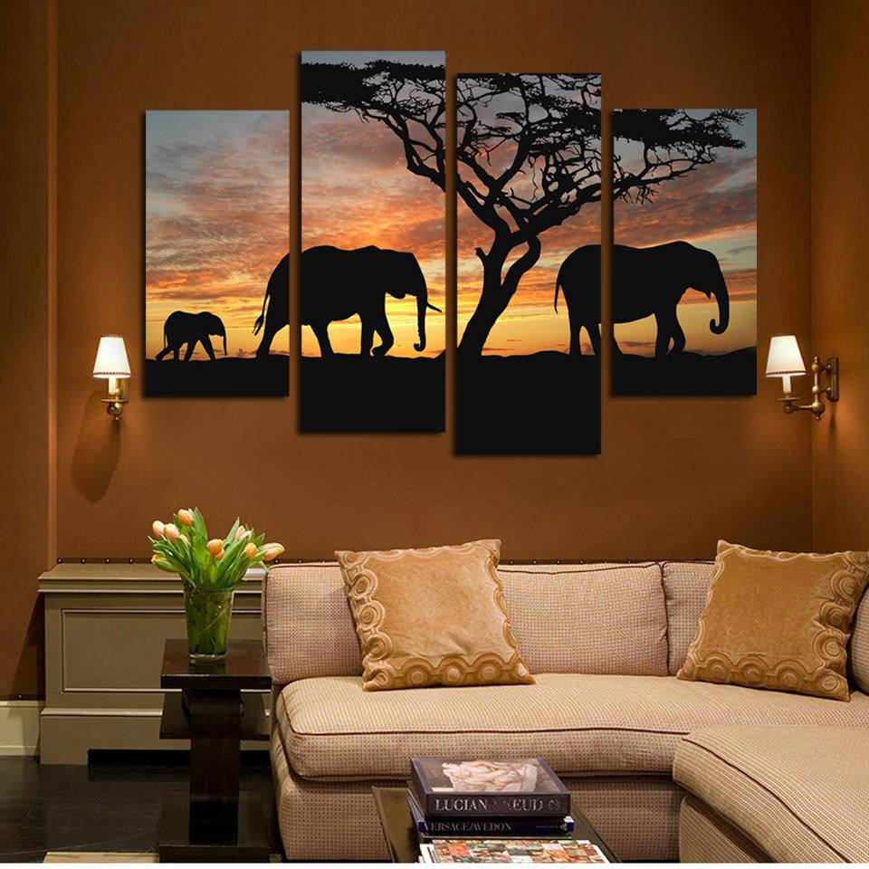 12 Ppcs Sunset Elephant Painting Canvas Wall Art Picture Home Decoration  Living Room Canvas Print Modern Painting--Large Canvas