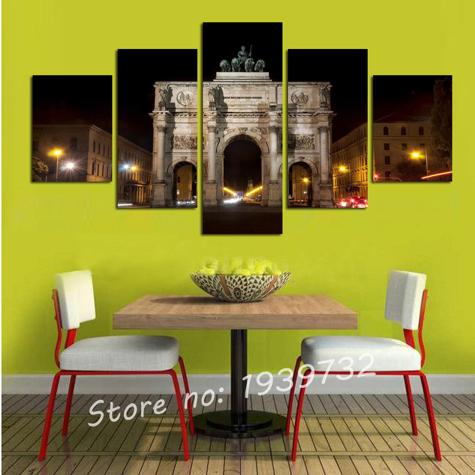 5 Piece Spectacular Architecture Modern Wall Art Picture Wall Canvas ...