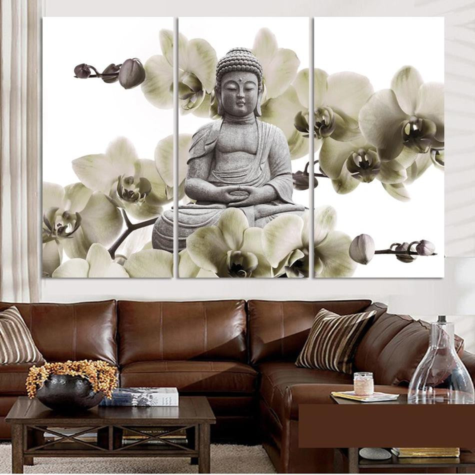 HD Buddha CANVAS PRINTS Modern 3 Panels Unframed Painting Home Decoration  Living Room Bedroom Decor Wall
