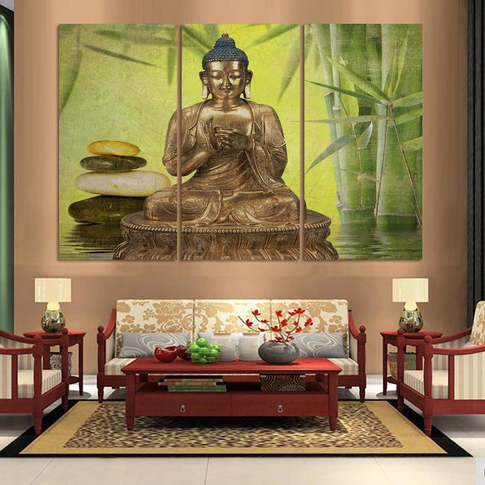 3 Panel Abstract Printed gold Buddha &Bamboo Painting Canvas Wall Art Home Decor Buda Cuadros Picture For Living Room Unframed