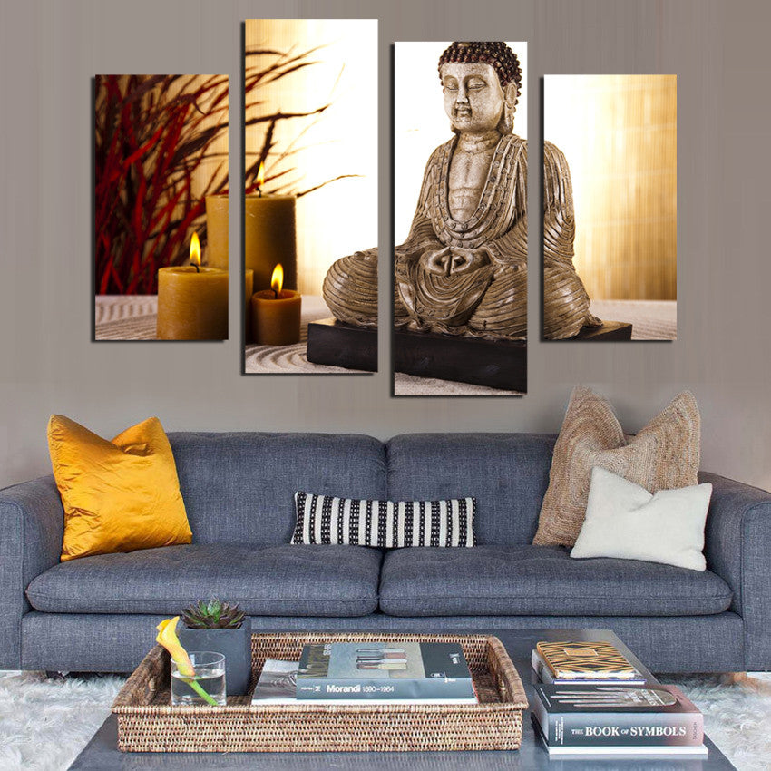 4 Panel Buddhism Buddha Canvas Painting Antique Buda and candle picture Wall Art Home decoration for living room no frame F1853