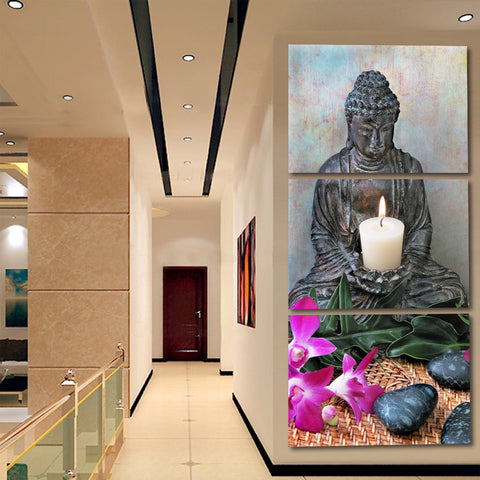 3 Panels Abstract Printed Buddhism Buddha Oil Painting Picture Cuadros Decoration Canvas Art For Bed Room Unframed FX039