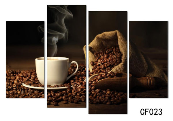 4 Panels Modern Printed Coffee Canvas Art Painting Picture Cuadros Kitchen Home Decor Wall Art For Living Room Unframed