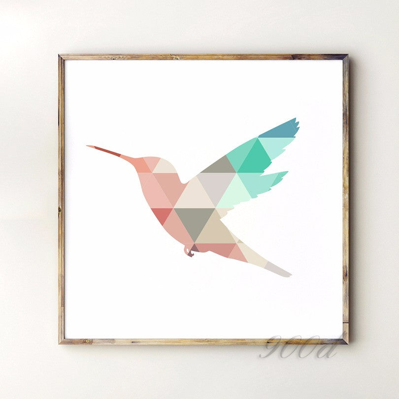 Geometric Flying Woodpecker Canvas Art Print Painting Poster, Wall Pictures For Home Decoration, Frame not include 237-30