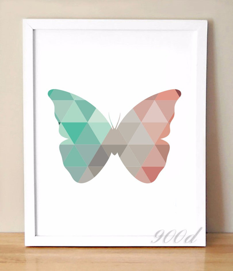 Geometric Butterfly Canvas Art Print Painting Poster,  Wall Pictures for Home Decoration, Home Decor 237-23