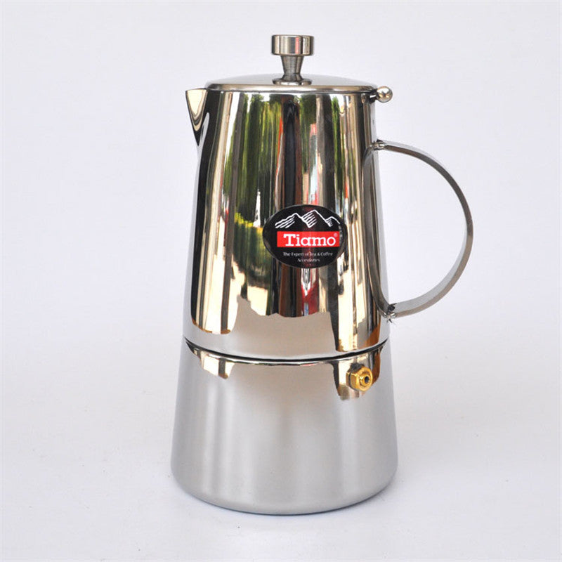The new stainless steel Moka pot / aluminum material filter cartridge mocha coffee pots filtering tools filter coffee pot 4 cups
