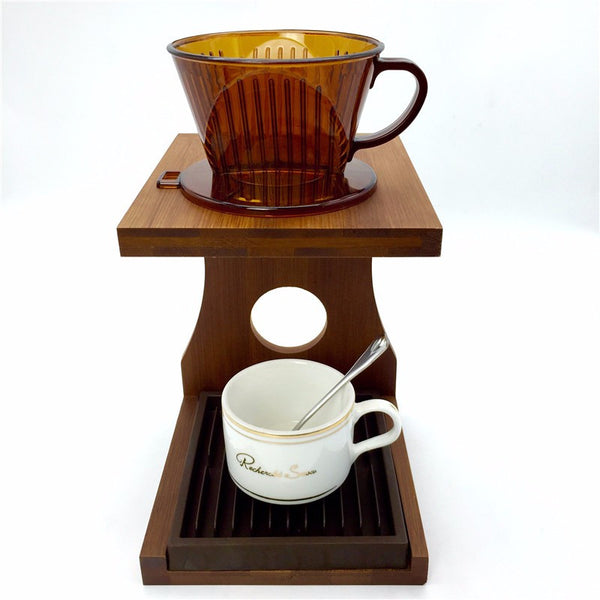Bamboo material manually brewed coffee filter cup shelf / hand pour Coffee follicular tools coffee tea strainer cup holdersF-815