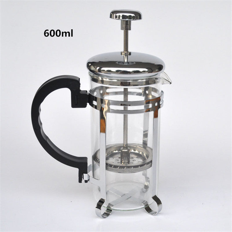 600ml Silver Glass Filter Coffee Maker Tea Strainer Percolating