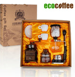 1Set Free Shipping Romantic coffee gift box 3 cups syphon  maker grinding machine royal coffee beans lovers coffee cup