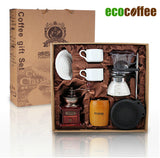 1Set Free Shipping EMS DHL FedEx coffee gift box pot grinding machine oak barrel coffee cup