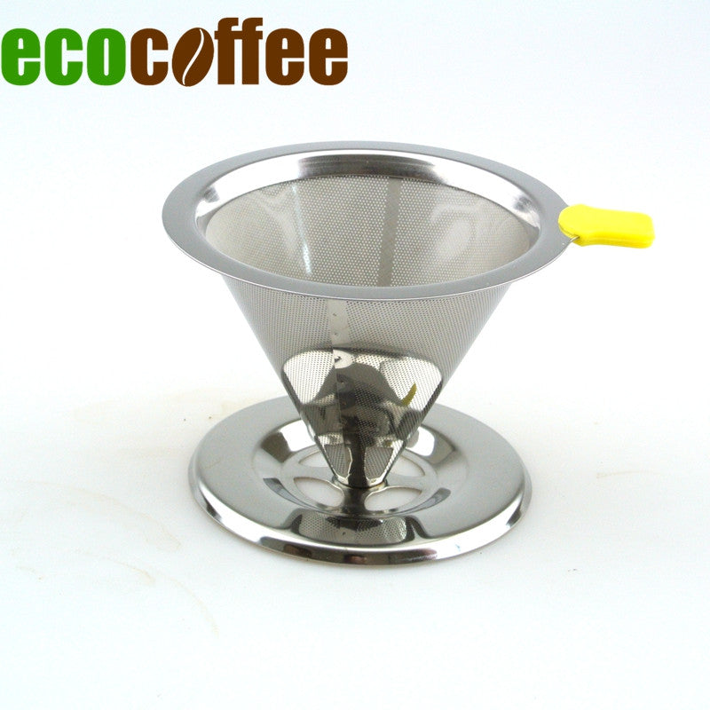 1PC Free Shipping Stainless Steel  Dripper Reusable Coffee Filter with Cup Stand