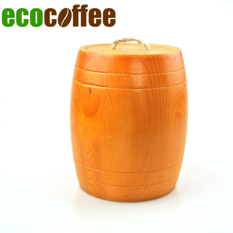 1PC Free Shipping 2 Pounds Pine Coffee Bean Barrel Coffee Bean Baskets Coffee Bean Cans