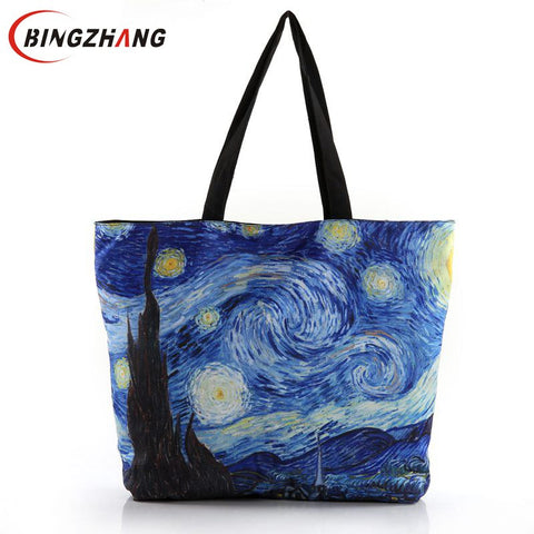 New 2017 Fashion Van Gogh Starry Night Printing Shoulder Canvas Laptop Shopping Handbags Ladies Totes Bags With Zipper L4-1612