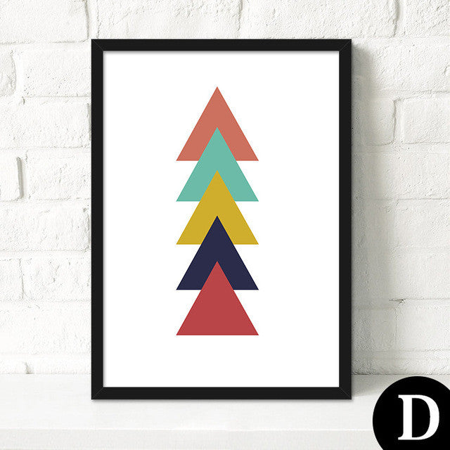 Modern Paintings Geometric Triangles Printable Art Wall Pictures Canvas Art Poster Cuadros Oil Painting Wall Decor No Frame