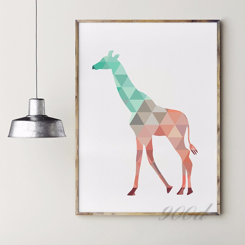 Geometric Giraffe Canvas Art Print Painting Poster,  Wall Pictures for Home Decoration, Home Decor 237-11-3